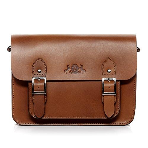 SID & VAIN shoulder bag - woman handbag TESSA fits iPad cross-body bag   hobo cross-body bag womens bag tan-cognac real leather Tan-cognac