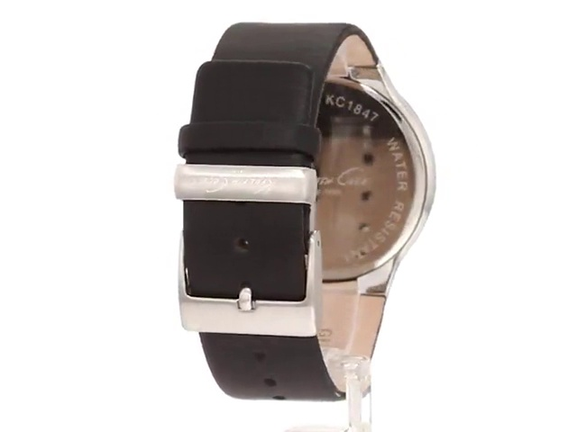 Kenneth Cole New York Men's KC1847 Stainless Steel Watch with Black Leather Band