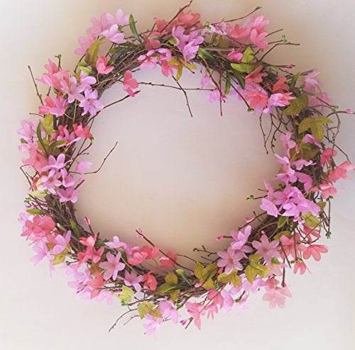 - Homester Spring Cherry Blossom Buds Vine Door Wreath Candle Ring (18