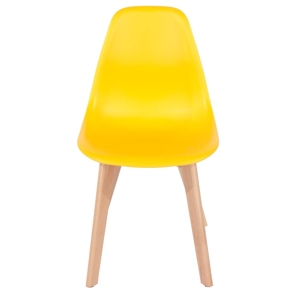 Core Products Aspen Chair with Wooden Legs, Plastic, Yellow, Set of 2 ASCH5Yset2