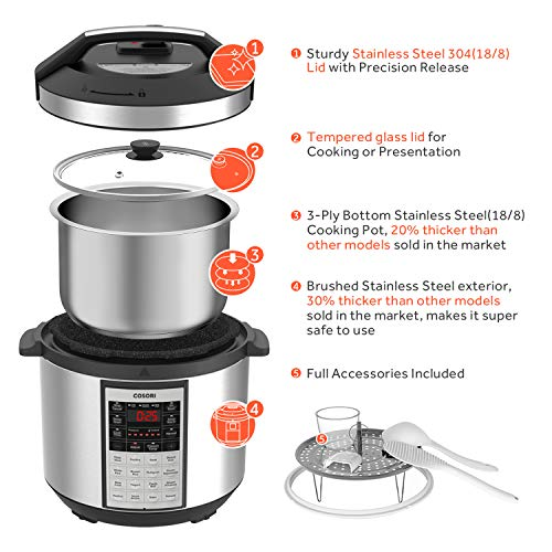 COSORI Upgraded 6 Quart 9-in-1 Programmable Pressure Cooker with 16 Built-In Programs, Stainless Steel Pot & All Cooking Essentials, Slow Cooker,Rice Cooker,Steamer,Sauté,Yogurt Maker,Hot Pot & Warmer by COSORI (Image #4)'