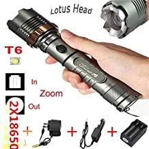 2000lm Cree Xm-l T6 Led Rechargeable Flashlight Torch w/ 18650& Charger