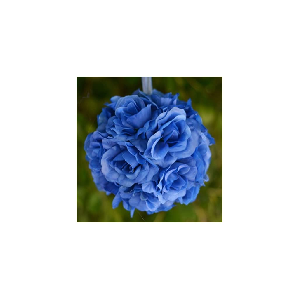 4-pcs-ROYAL-BLUE-Roses-7-Kissing-BALLS-WEDDING-Party-FLOWERS-Centerpieces