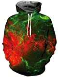 TUONROAD Men's 3D Digital Printing Hoodies Green Red Lightning Nebula Clouds Tshirt Athletic Big and Tall Hooded Pull Over Sweatshirts for College Juniors School Sport Gym Basketball Baseball