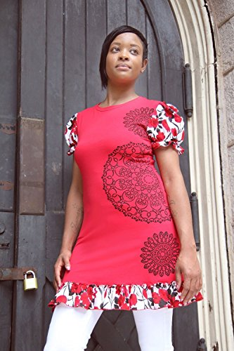 Womens A-line Red Ruffled Jersey Tunic Top Hand Printed With Black Doilies Floral Puff Sleeves Size - Jersey Ruffled Cotton