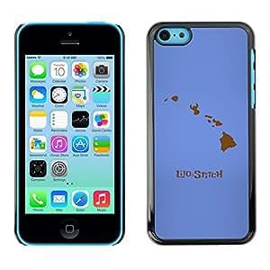KLONGSHOP // Cubierta de piel con cierre a presión Shell trasero duro de goma Protección Caso - Lilo Stitc - iPhone 5C //
