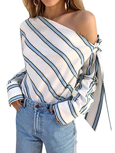 (Glamaker Women's Sexy One Off Shoulder Long Sleeve Stripe Blouse Shirt Tops Blue)