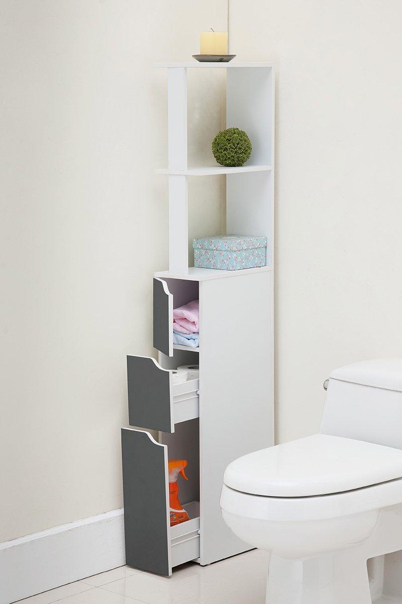 Carinda - Armario de Almacenaje para Baño/Estantería de Baño/Organizador con Cajones (136 cm alto, Gris): Amazon.es: Bricolaje y herramientas
