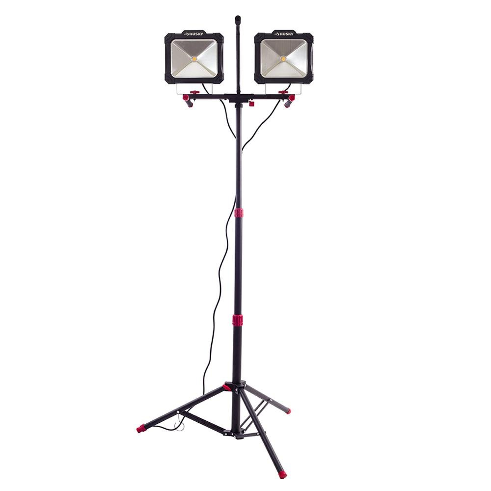 Husky Wider, Brighter Light Angle 7000-Lumen Twin-Head LED Worklight with Detacheable Tripod Telescopes to 76 in. and Soft Grip Handles