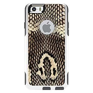 "CUSTOM White OtterBox Commuter Series Case for Apple iPhone 6 PLUS (5.5"" Model) - Brown Tan Snake Skin Texture"