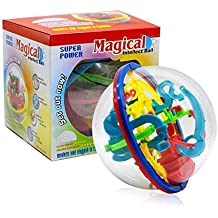 Intellect 3D Maze Ball with 100 Challenging Barriers, XUEJET Educational Toys Magic Puzzle Game for Children