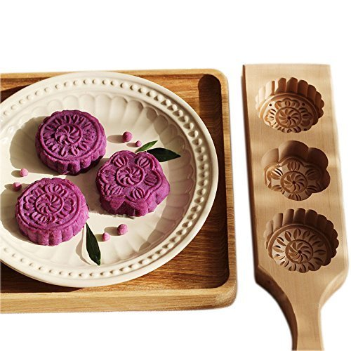 Hleeduo® Wooden Moon Cake Steamed Pumpkin Pie Pasta Rice Cake Wooden Baking Mold (Three Mold)