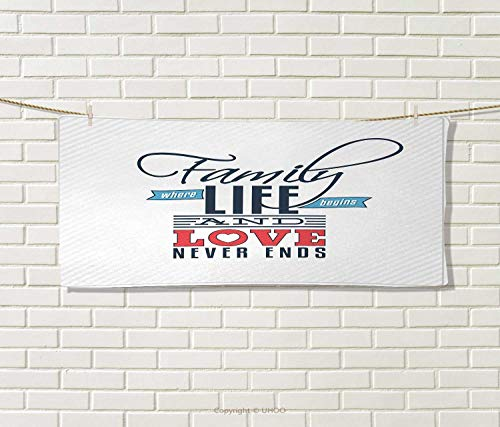 Anniutwo Family,Sports Ttowel,Vintage Greeting Card Inspired Design a Quote About Family Love,Absorbent Towel,Black Light Blue Red Size: W 12