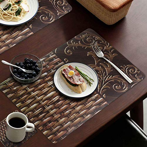 CASA-NEST PVC Printed Brown Placemats for Dining Table and Kitchen (45 x 30 cm) Set of 6 Pieces ||Hot Vessels…