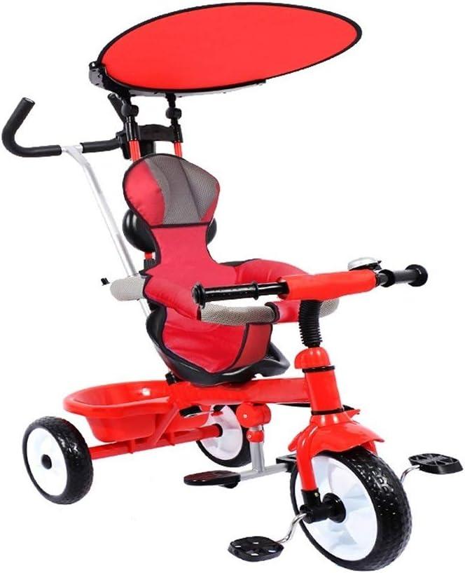 WENJIE Bicicleta Infantil Ligero Triciclo 2-en-1 de los niños Plegables portátiles 1-3-6 Utilizar a los niños de Paseo en Bicicleta con el Medio Ambiente Material de múltiples Edades (Color : Red)