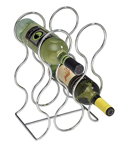 mDesign Free Standing Wine Storage Rack for Kitchen Countertops - Holds 6 Bottles, (Chrome Wine Rack)