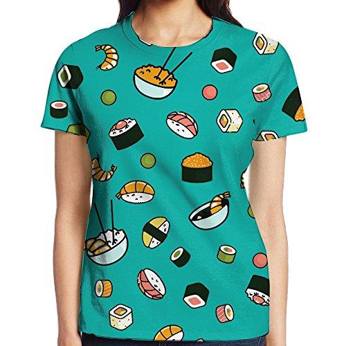 NavyLife Women's Sushi Shrimp Casual Crew Neck Baseball Tee Short Sleeves Tee Shirt Slim Fit Sports - Beyonce Jeans In Skinny
