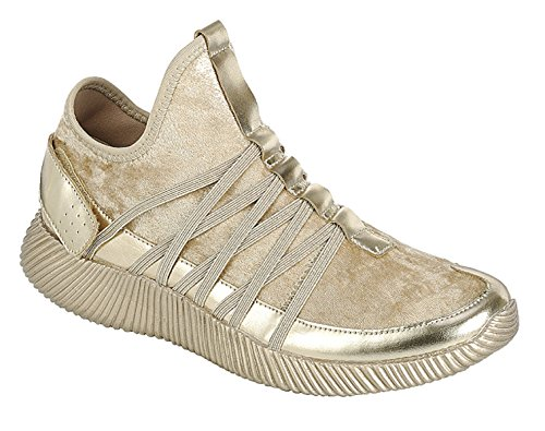 Lizzy Sparkle Metallic Glitter Mother Daughter Matching Fashion Slip on Sneaker Tennis Shoe Zapatillas de Deporte Zapatos Metálico Dorado Casuales de Mujer (7.5, Gold)