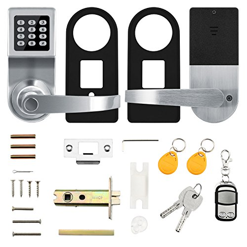 Smart Door Lock,XINDA Electronic Door Lock Featuring SmartCode and Adjustable Hand,Digital Lock Including Remote Control,Card and Metal Key.Perfect for Office,Home,Hotel and Apartment(Satin Nickel) by XINDA (Image #7)