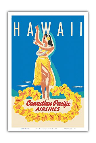 Airlines Pacific Canadian - Hawaii - Canadian Pacific Airlines - Hawaiian Hula Dancer - Vintage Airline Travel Poster by Peter Ewart c.1952 - Master Art Print - 12in x 18in