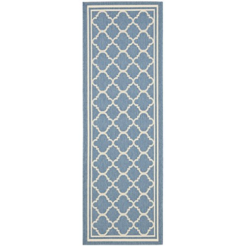Safavieh Courtyard Collection CY6918-243 Blue and Beige Indoor/ Outdoor Runner (2'3