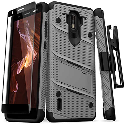 Zizo Bolt Series Compatible with Nokia 3.1 C Case Military Grade Drop Tested with Full Glass Screen Protector Holster and Kickstand Metal Gray