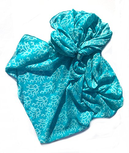 West Indies 100  Pure Cotton Sarong Pareo Swimsuit Bikini Cover Up Beach Cruise Resort Island Wear  Coral Aqua