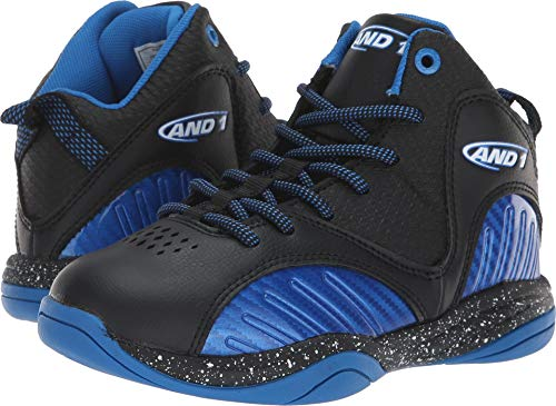 AND1 Boys' Size 'M Up Sneaker, Black/Skydiver/Bright White, 6 Medium US Big Kid