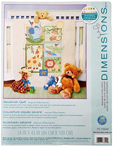 Dimensions Stamped Cross Stitch Safari Animals DIY Baby Quilt Kit, 34'' x 43'' ()