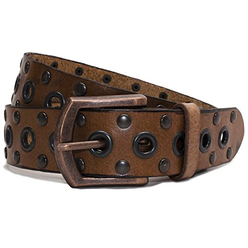 Nickel Free Genuine Leather Studded Belt, Brown-32