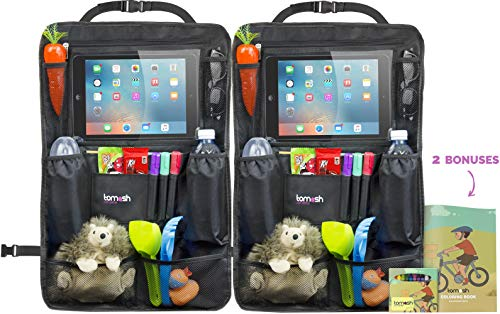 Backseat Organizer with Tablet Holder - Adjustable Straps for Universal Fit - Insulated Drink Pouches, Storage Pockets for Books, Snacks, Wipes - Car Organizer for Kids & Toddlers by Tomash (2 Pack)