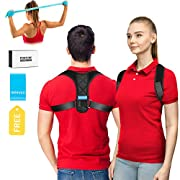 Upper Back Brace Posture Corrector for Men and Women, Shoulder Brace Clavicle Support Device, Adjustable Slouching Support - Kyphosis Brace - Muscle Pain Reliever SIZE , L 40-55 Inch