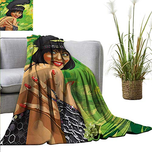 Vintage Decorative Throw Blanket Retro Sexy Woman Portrait in Old Fashion Stylish Fashion Dress Glamour Artsy Print All Season for Couch or Bed 54