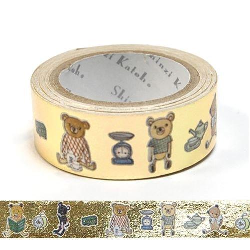 Shinzi Katoh Gold Metallic Washi Adhesive Tape with Teddy Bears, Tea Cups etc.