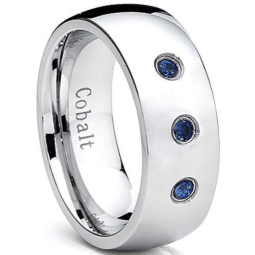 8MM Dome Coblat Men's Ring Wedding Band with Blue Sapphire Stone, Comfort Fit 0.12 TWC 10 (Band Wedding Comfort Sapphire Fit)