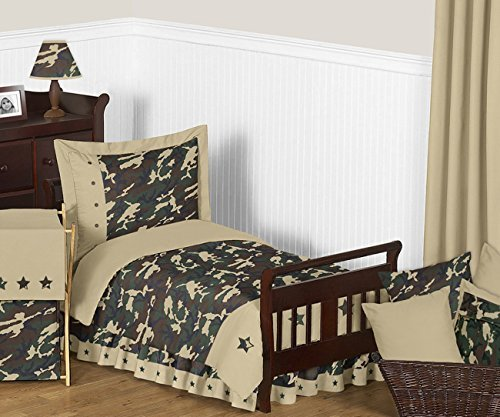 Sweet Jojo Designs 5-Piece Green Camouflage Toddler Boy Bedding Set