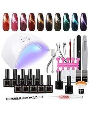 Gel Nail Polish Kit with UV Light 10 Colors Cat Eye Magnetic UV Gel Nail Polish Set 36W UV LED Nail Lamp Manicure Tools Set for Nail Salon Home DIY