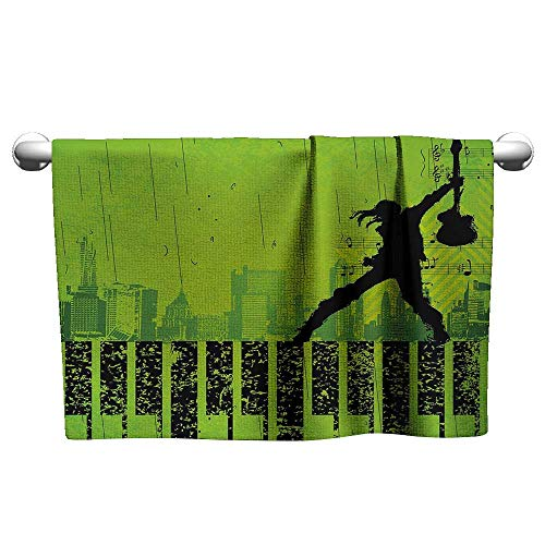 alisoso Popstar Party,Hair Towels for BoysMusic in The City Theme Singer with Electric Guitar on Grunge Backdrop Quick Dry Towel Lime Green Black W 20