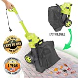 High Powered Leaf Blower Mulcher - 13.5 Amp Powered Motor 130 MPH 530 CFM Air Volume 2-in-1 Handheld Leaf Vacuum Blower w/Bag, 10ft Cord, Easy Carry Wheels, For Lawn Garden - SereneLife PSLHTM38