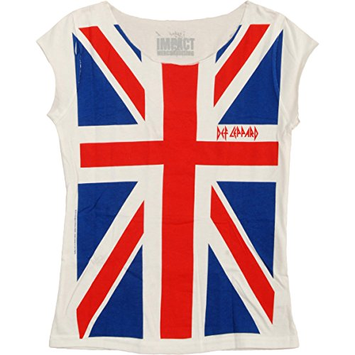 Juniors: Def Leppard- Union Jack Juniors (Slim) T-Shirt Size M (Womens Vintage T Shirts British compare prices)