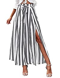 BerryGo Women's Boho High Waist Split Stripe Wide Leg Pants