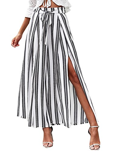 - BerryGo Women's Boho High Waist Split Stripe Wide Leg Pants Dark Blue Stripe,M