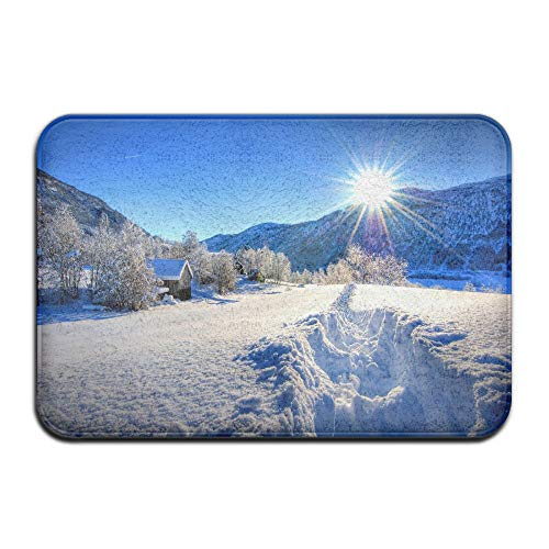 Jianyue Old Farm House By The Mountain In The Winter Door Mat Entrance Mat Indoor Outdoor Entry Garage Patio Shoe Rugs Front Door Bathroom Mats Rubber Non Slip (23.6