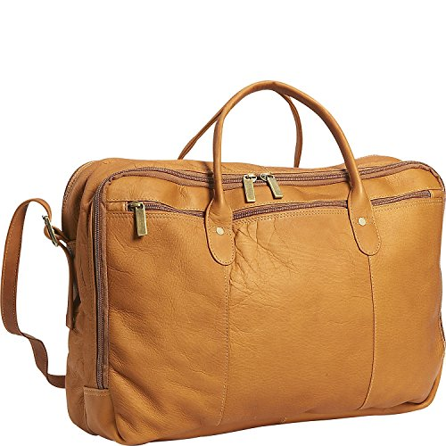 - David King Leather Double Top Zip Briefcase in Tan