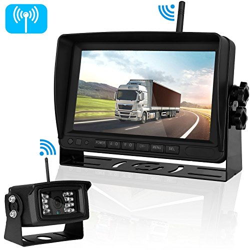 Digital Wireless Backup Camera for RV Truck Trailers Camper Caravan 5th Wheel with 7' HD Monitor System Range 450ft No Flickers Rear/Side/Facing View Continuous/Reverse Use Optional IP69K Waterproof