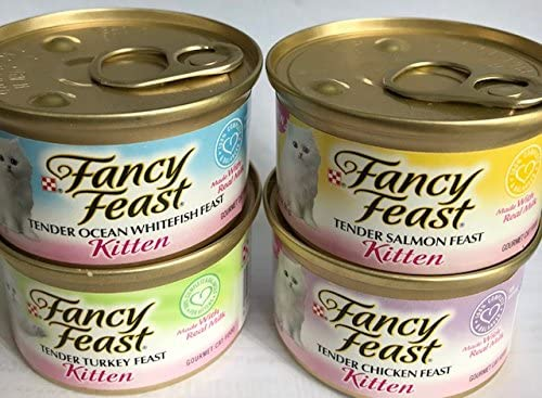 Fancy Feast Purina Kitten Variety Pack Tender Ocean Whitefish, Turkey, Salmon, Chicken Feast 3-CANS of Each Gourmet CAT Food Total 12-3 OZ CANS