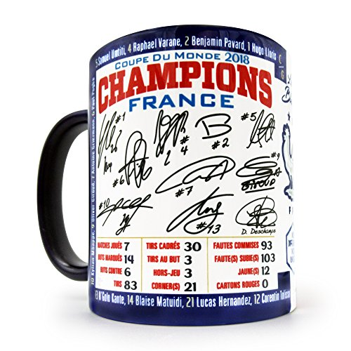 Gio Gifts France Champion World Cup 2018 Coffee/Tea Mug 11 oz. Features Autographs and World Cup Statistics