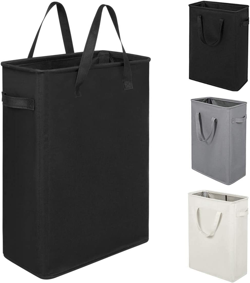 ZERO JET LAG 45L Slim Laundry Hamper with Handles Thin Laundry Bin Collapsible Dirty Clothes Basket Narrow Laundry Bag Foldable Dirty Hamper(21 inches,Black)