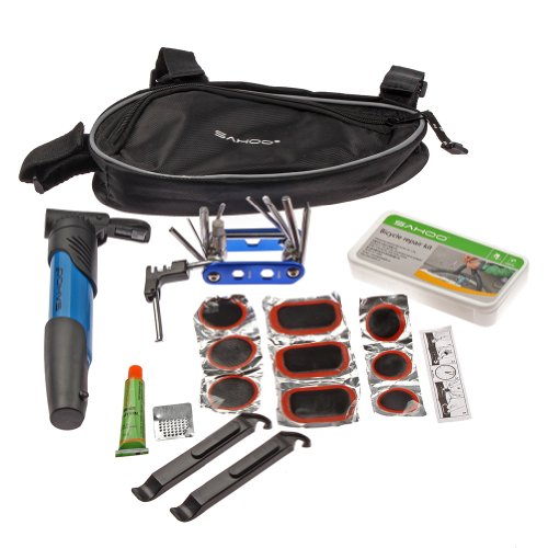 Roswheel SAHOO 14in1 Multi-function Bicycle Tools Kit w/ Tire Levers,Chain rivet extractor,Bicycle Pump for Bike in Triangle Bag - 21255 Blue