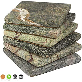 Stella Green Forest Limestone Drink Coasters - Set of 6 - Premium Absorbent Natural Stone
